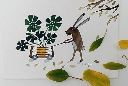 Zajačik a rastlinka ilustrácia pohľadnica  / originál maľba