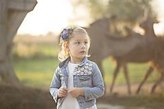 Ozdoby do vlasov - Detská kvetinová čelenka modrá - 9945095_