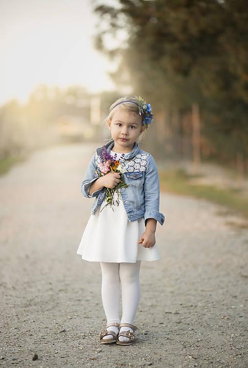 Detská kvetinová čelenka modrá