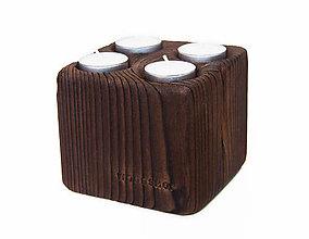 Svietidlá a sviečky - SVIETNIK *KOCKA* OPAĽOVANÝ HRANOL - 9943776_