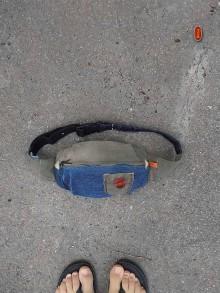Iné tašky - unisex recy podélná ledvinka, denim/khaki - 9943045_