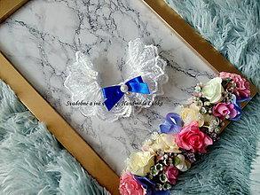 Bielizeň/Plavky - Biely podväzok s kráľovsky modrou mašličkou - 9943562_