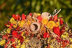 Dekorácie - Jesenný prírodný venček - 9943195_