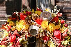 Dekorácie - Jesenný prírodný venček - 9943197_