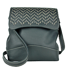 Kabelky - Ručne vyšívaná kožená kabelka v čiernej farbe, béžové prešívanie - 9944884_