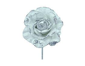 Polotovary - Ruža biela glitrová - 9945767_