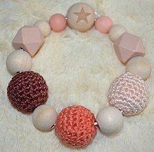 Hračky - Malé hryzátka (Béžová háčkované koralky) - 9943448_
