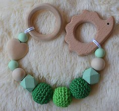 Hračky - Drevené hryzátko srdiečko (Zelená bez klipu, krúžok) - 9943556_