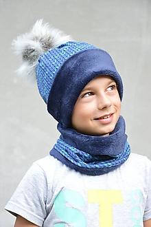 Detské súpravy - Zimný set Twist nositeľný na 2 spôsoby BLUE & NAVY - 9946013_