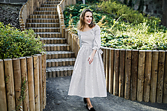 Šaty - Prúžkované košeľové šaty s odhalenými ramenami - 9942683_