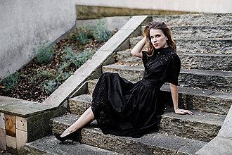 Šaty - Čierne košeľové šaty s krajkou - 9942838_