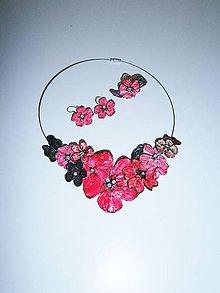 Sady šperkov - pink art flowers set 4 - 9949585_