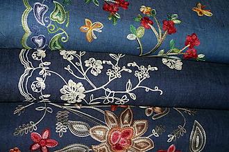Textil - Látka Vyšívaný Denim - 9949505_