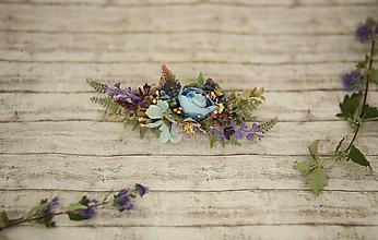 Ozdoby do vlasov - Kvetinový modrý polvenček - 9949383_
