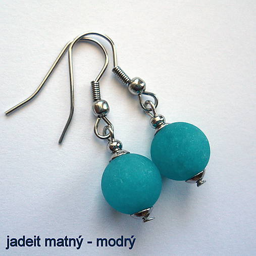 Náušnice - Minerálky (jadeit matný-modrý)