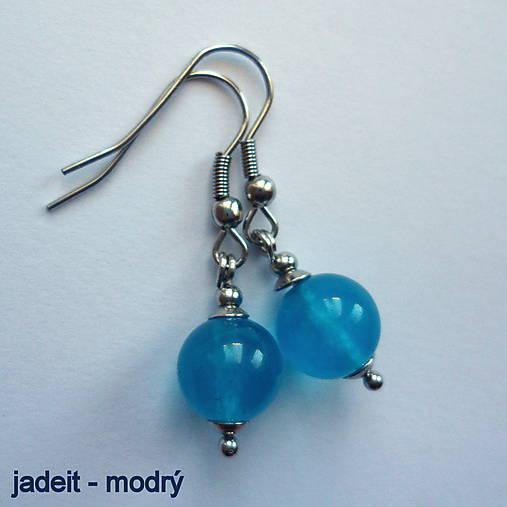 Náušnice - Minerálky (jadeit-modrý)