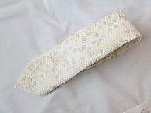 Doplnky - luxusná kravata smotanová so zlatistým vzorom - 9947880_