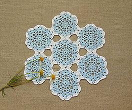 Úžitkový textil - Modro-biela háčkovaná dečka - 9947499_