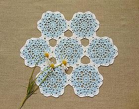 Úžitkový textil - Modro-biela háčkovaná dečka - 9947529_