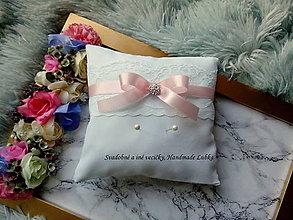 Prstene - Vankúšik na obrúčky - baby pink - 9948589_