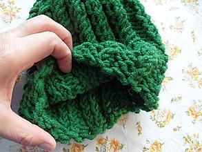 Detské čiapky - teplá zelená čiapočka - 9948613_