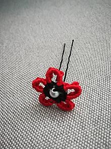 Ozdoby do vlasov - Vlásenka Kvet (Červená) - 9948314_