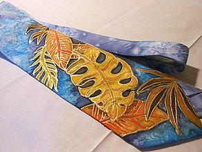 Doplnky - Maľovaná hodvábna kravata - Listy - 9946739_