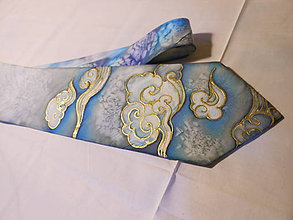 Doplnky - Maľovaná kravata - Oblaky - 9946758_