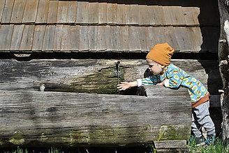 Detské čiapky - Detská merino čiapka (Oranžová) - 9949154_
