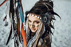 Ozdoby do vlasov - Čelenka z kolekcie Halloween Šamanka - 9946170_