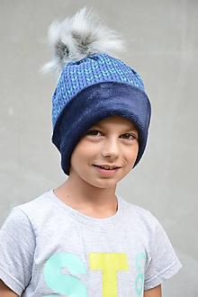 Detské čiapky - Zimná čiapka Twist nositeľná na 2 spôsoby BLUE & NAVY - 9946418_