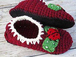 Topánočky - bordové detské papuče - 9948083_