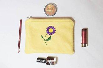 Taštičky - Kozmetická taštička fialový kvet - 9948578_