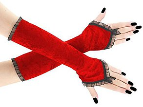 Rukavice - Spoločenské zamatové dlhé červené rukavice opera 2R - 9951357_