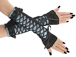 Rukavice - Spoločenské bezprstové modré rukavice 7M - 9951803_