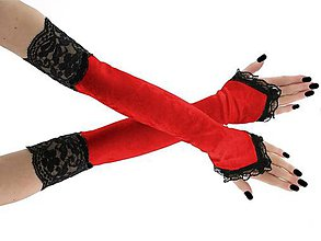 Rukavice - Dámské zamatové rukavičky červené s čipkou 1020N - 9951843_