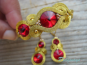 Sady šperkov - Simple Gold (Siam) - set...soutache - 9950855_