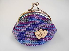 Peňaženky - Háčkovaná peňaženka melír - fialová - 9950338_