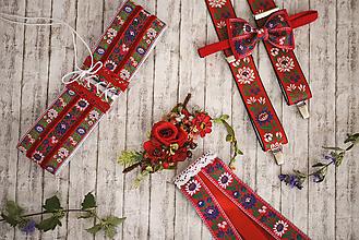 Doplnky - Pánsky červený  folk set traky z gumy a extra vystužený motýlik - 9953220_