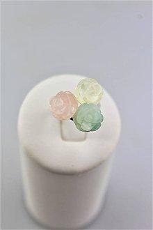 Prstene - ruženín krištál a amazonit prsteň striebro Ag925/1000 - 9952491_