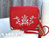 Kabelky - Ručne maľovaná folklórna kabelka - červená - ľudová - 9952249_