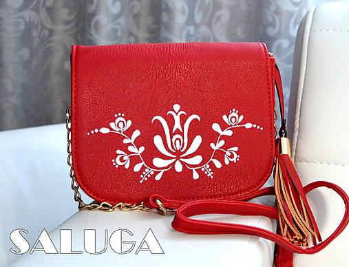 Ručne maľovaná folklórna kabelka - červená - ľudová