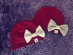 Detské čiapky - Čiapka s mašľou (S - Bordová) - 9951588_