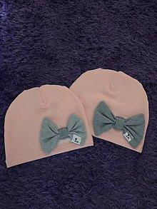 Detské čiapky - Čiapka s mašľou (S - Ružová) - 9951649_