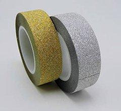 Papier - WP101 Washi páska zlatá/strieborná 1,5 cm  (Strieborná) - 9950687_
