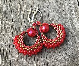 Náušnice - Vianočné červeno-zlaté vejárikové náušnice - 9952566_