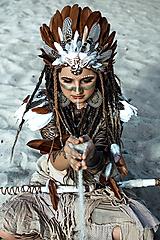 Ozdoby do vlasov - Pierková čelenka s mušličkami Halloween Šamanka - 9950596_