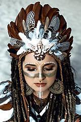 Ozdoby do vlasov - Pierková čelenka s mušličkami Halloween Šamanka - 9950607_