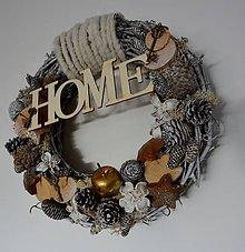 Dekorácie - Zimný/celoročný veniec na dvere - 9952476_
