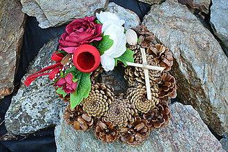 dc3bd20e2 Dekorácie - Smútočný venček bordovo ivory s krížikom - 9950238_